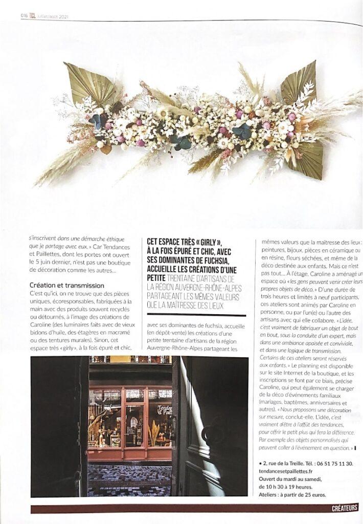 Page tendances et paillettes dans le magazine Tout Clermont